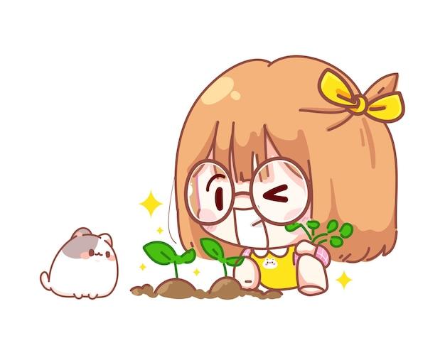 Junges mädchen, das baumkarikaturillustration pflanzt