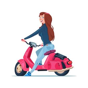 Junges mädchen, das den elektrischen roller rotes weinlese-motorrad lokalisiert auf weißem hintergrund reitet