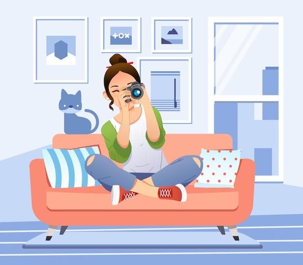 Junges mädchen, das ein bild mit digitalkamera in wohnzimmerillustration nimmt. wird für poster, website-bilder und andere verwendet