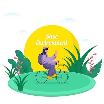 Junges mädchen, das ein fahrrad mit grüner naturansicht für save environment concept fährt.