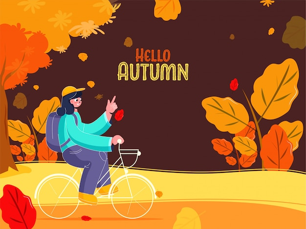 Junges mädchen, das fahrrad mit einem rucksack auf natur-ansicht-braunem hintergrund für hallo herbst reitet.