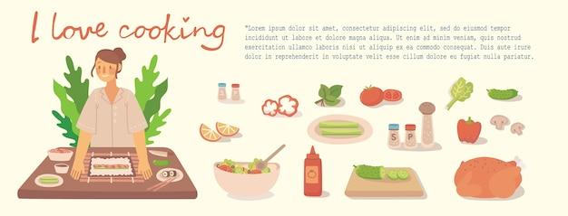 Junges mädchen, das in der küche zu hause kocht. kochen von sushi, pizza, hühnchen und salat mit zutaten. moderne illustration im modernen flachen stil.