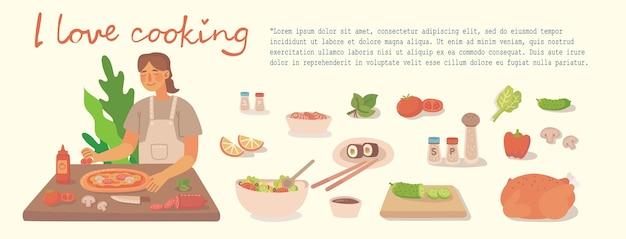 Junges mädchen, das in der küche zu hause kocht. pizza, hühnchen und salat mit zutaten kochen. moderne illustration im modernen flachen stil.