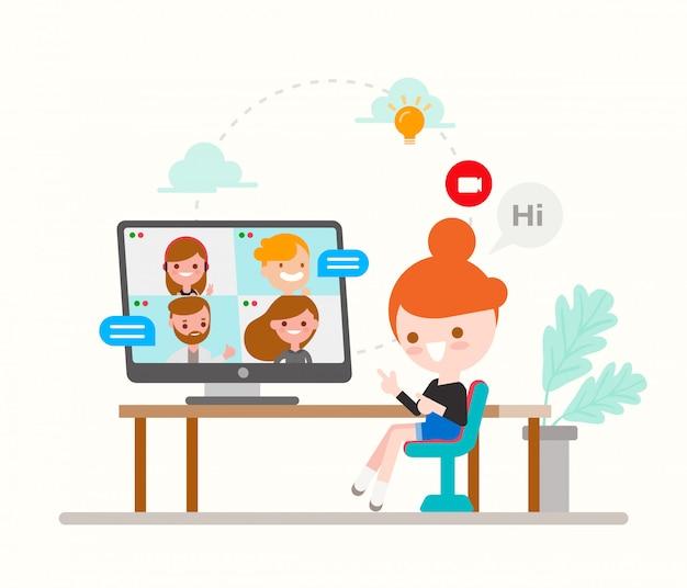 Junges mädchen, das mit ihren freunden und familie online durch videoanruf-app mit laptop chattet. gruppen-chat, konzeptdarstellung der social media-technologie. flache designart-zeichentrickfigur.