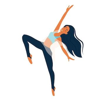 Junges mädchen, das moderne tanztänzerin in anmutiger pose mit weiblicher charaktervektorillustration tanzt