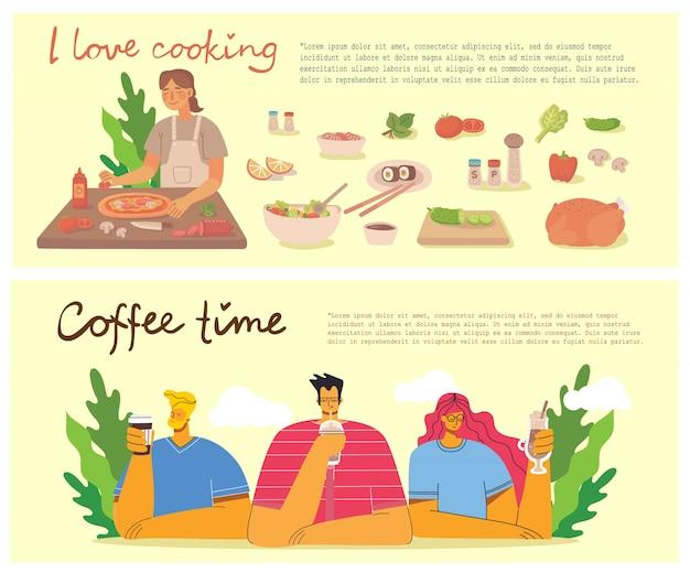 Junges mädchen, das pizza in der küche zu hause kocht. kaffeezeit, pause und entspannung konzeptkarten. illustration im flachen designstil