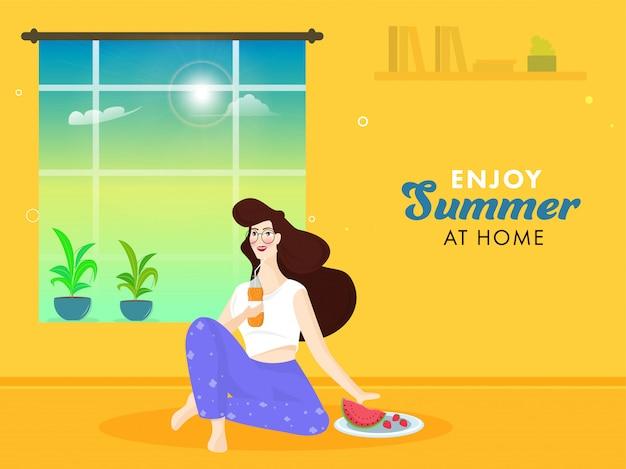 Junges mädchen, das softdrinkflasche mit früchten, blumentopf und sonnenschein durch fenster auf gelbem hintergrund hält, um sommer zu hause zu genießen.