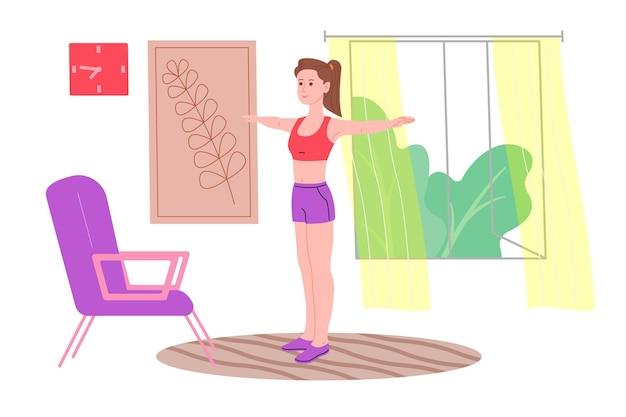 Junges mädchen, das während der quarantäne zu hause sportübungen, heimtraining und fitness macht und einen gesunden lebensstil führt. flache vektorillustration. menschen, männer und frauen, die das haus als fitnessstudio nutzen.