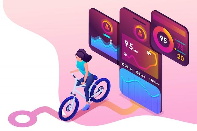 Junges mädchen des isometrischen konzeptes auf fahrrad, eine bewegliche app spürt das training, das gps-signal auf.