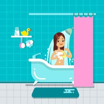 Junges mädchen im badezimmerhauptinnenraum mit dusche, badvektorillustration. karikaturschönheitfrau im badezimmer oder in der dusche