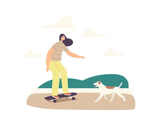 Junges mädchen in moderner kleidung, die skateboard im stadtpark reitet. skateboarder-weiblicher charakter outdoor-aktivität, sport-erholung. teenager mit hund machen skateboard-stunts. cartoon-vektor-illustration