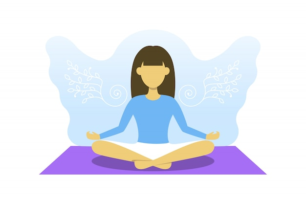 Junges mädchen ist mit meditation beschäftigt. vektorillustration, yoga sport, befreien sie ihr gedankenkonzept. frau im lotussitz mit engelsflügeln dahinter.