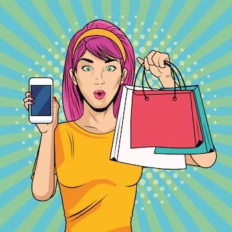 Junges mädchen mit einkaufstaschen und smartphone-pop-art-stil