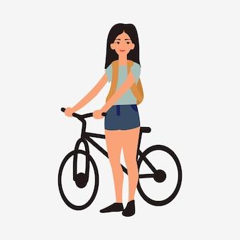 Junges mädchen mit fahrrad. weibliche flache zeichentrickfilm-figuren lokalisiert auf weißem hintergrund.
