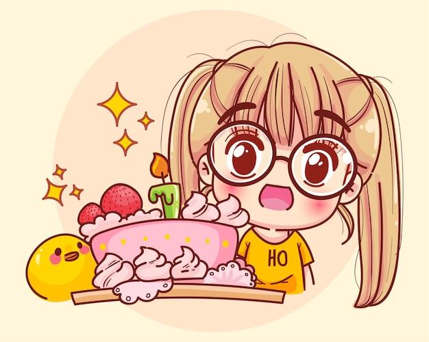 Junges mädchen mit kuchen auf alles gute zum geburtstag party cartoon illustration