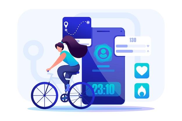 Junges mädchen radfahren, mobile app, um ihre workouts zu verfolgen