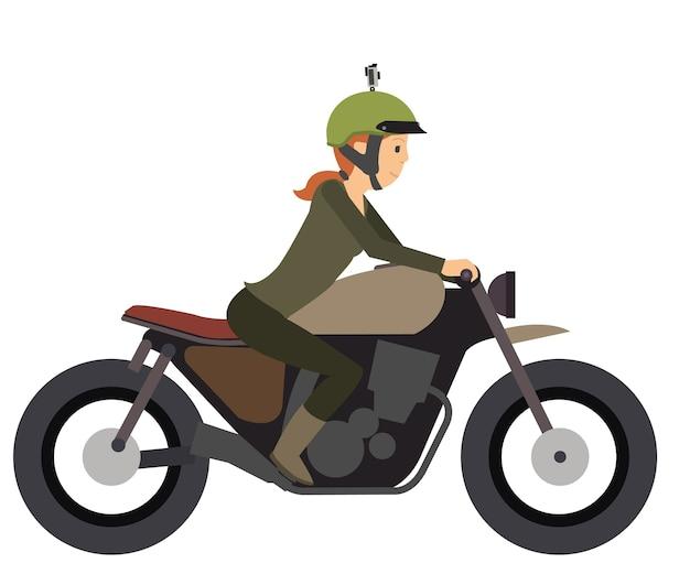 Junges mädchen reiten ein motorrad im flachen vektor