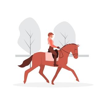 Junges mädchenjockey, das braunes pferd mit gelbem wappen reitet.