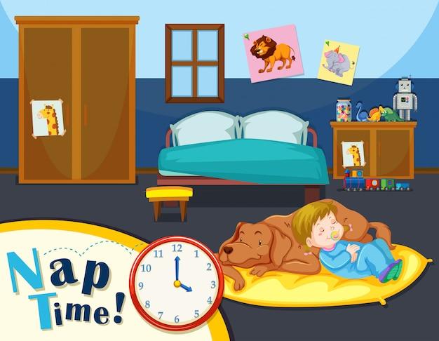 Junges mädchenschlafzeit