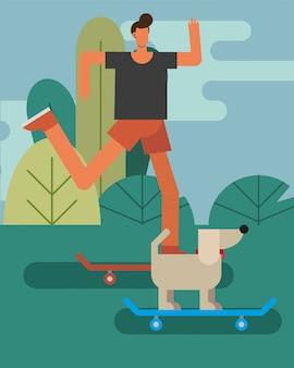 Junges mann- und hundemaskottchen in den skateboards, die aktivitätszeichen üben