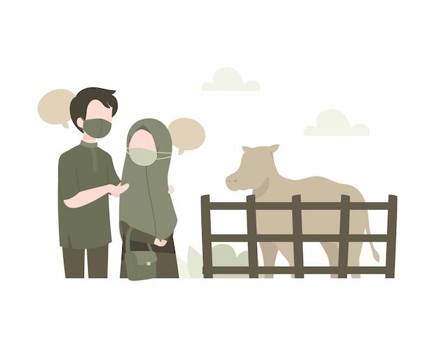 Junges muslimisches paar kauft eine kuh, um eid al-adha illustration zu feiern