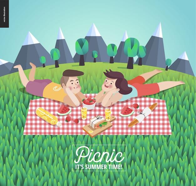 Junges paar auf picknickvorlage