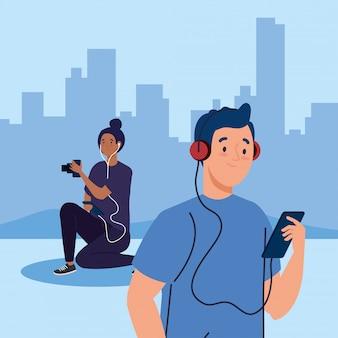 Junges paar, das aktivitäten im freien illustrationsdesign tut