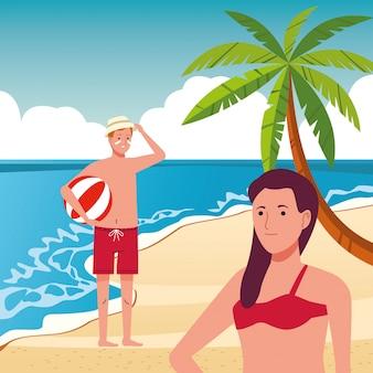 Junges paar, das badeanzüge auf der strandszene trägt