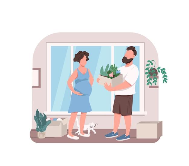 Junges paar, das blumen 2d web-banner, plakat pflanzt. ehemann, der schwangere frau mit innengartenarbeitsflachfiguren auf karikaturhintergrund hilft. druckbarer patch, buntes webelement