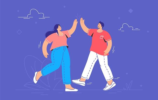 Junges paar, das ein high-five gibt. konzeptvektorillustration von zwei freunden, die sich draußen treffen und ein hohes fünf geben. freundschaft und live-kommunikation für menschen, die auf lila isoliert sind