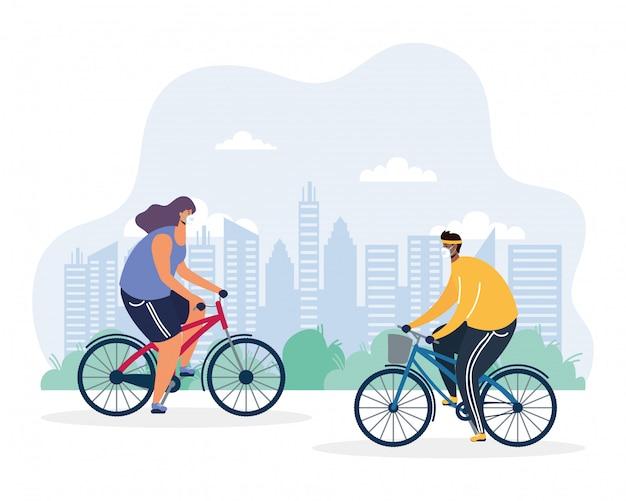 Junges paar, das fahrrad trägt, das medizinische maskenillustration trägt