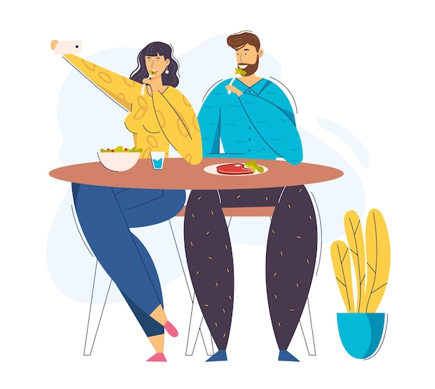 Junges paar, das foto selfie mit essen auf handy nimmt. weibliche bloggerin, die das mittagessen im café fotografiert. mann und frau im restaurant.