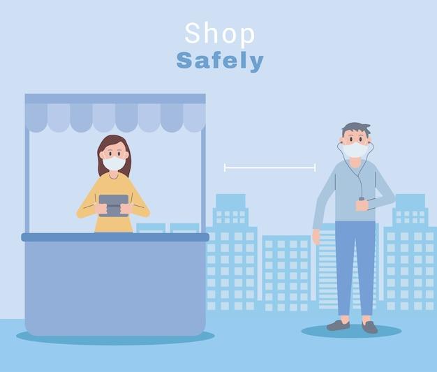 Junges paar, das gesichtsmasken shop sicherheitsillustrationsdesign trägt