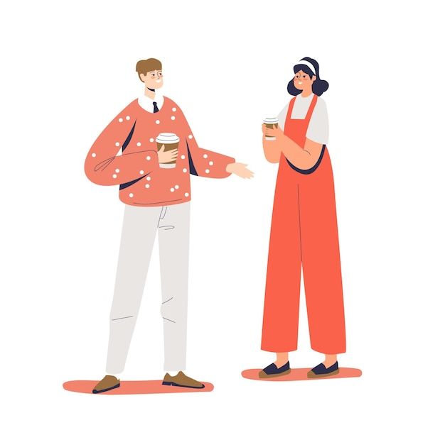 Junges paar, das kaffee hält, um in papiereinwegbechern isoliert zu gehen