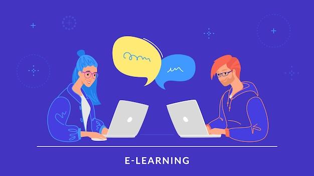 Junges paar, das mit laptop am schreibtisch arbeitet und auf tastatur schreibt. flache linie vektorgrafik von e-learning, studenten, die studieren und online-chats. leute, die mit laptop auf blauem hintergrund arbeiten