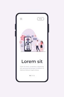 Junges paar, das mit roboterassistent auf smartphonebildschirm plaudert. chatbot hilft kunden bei ihren problemen. mobile app-vorlage der vektorillustration