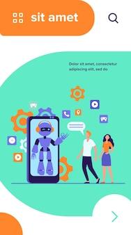Junges paar, das mit roboterassistent auf smartphonebildschirm plaudert. chatbot hilft kunden bei ihren problemen