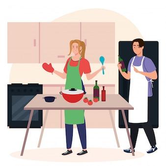 Junges paar, das mit vorräten auf küchenszene kocht