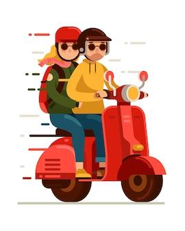 Junges paar, das rotes rollermotorrad reitet