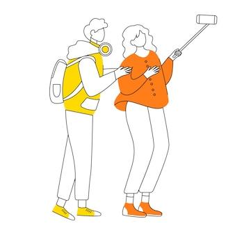 Junges paar, das selfie flache designkonturillustration macht