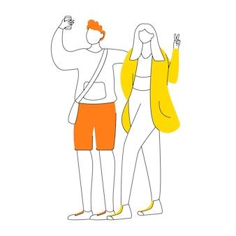 Junges paar, das selfie mit flacher designkonturillustration des smartphones nimmt