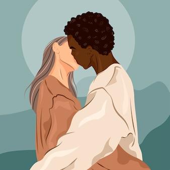 Junges paar, das sich hält und küsst. konzept für romantische beziehung, datierung, liebe, leidenschaft illustration.