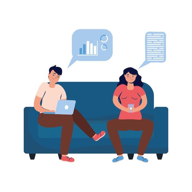 Junges paar, das smartphone und laptop im sofa-verbindungstechnologie-vektorillustrationsdesign verwendet