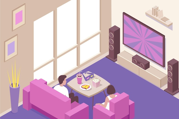Junges paar, das zu hause online-streaming und herunterladbare kinofilme mit isometrischer popcorn-snacks-komposition sieht