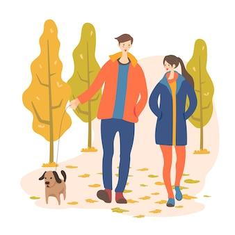 Junges paar, das zusammen vektorzeichnung geht. romantisches date. freund und freundin wandern. verliebte menschen. minimalistische konturillustration