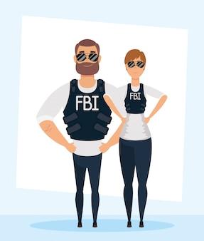 Junges paar fbi-agenten zeichen