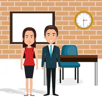 Junges paar im klassenzimmer avatare zeichen