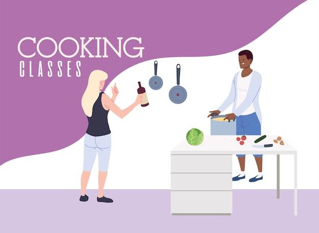 Junges paar im kochklassenillustrationsdesign