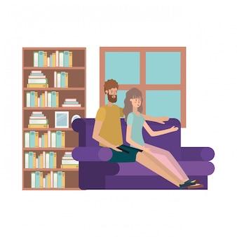 Junges paar im sofa avatare zeichen sitzen