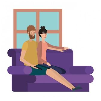 Junges paar im wohnzimmer avatar charakter